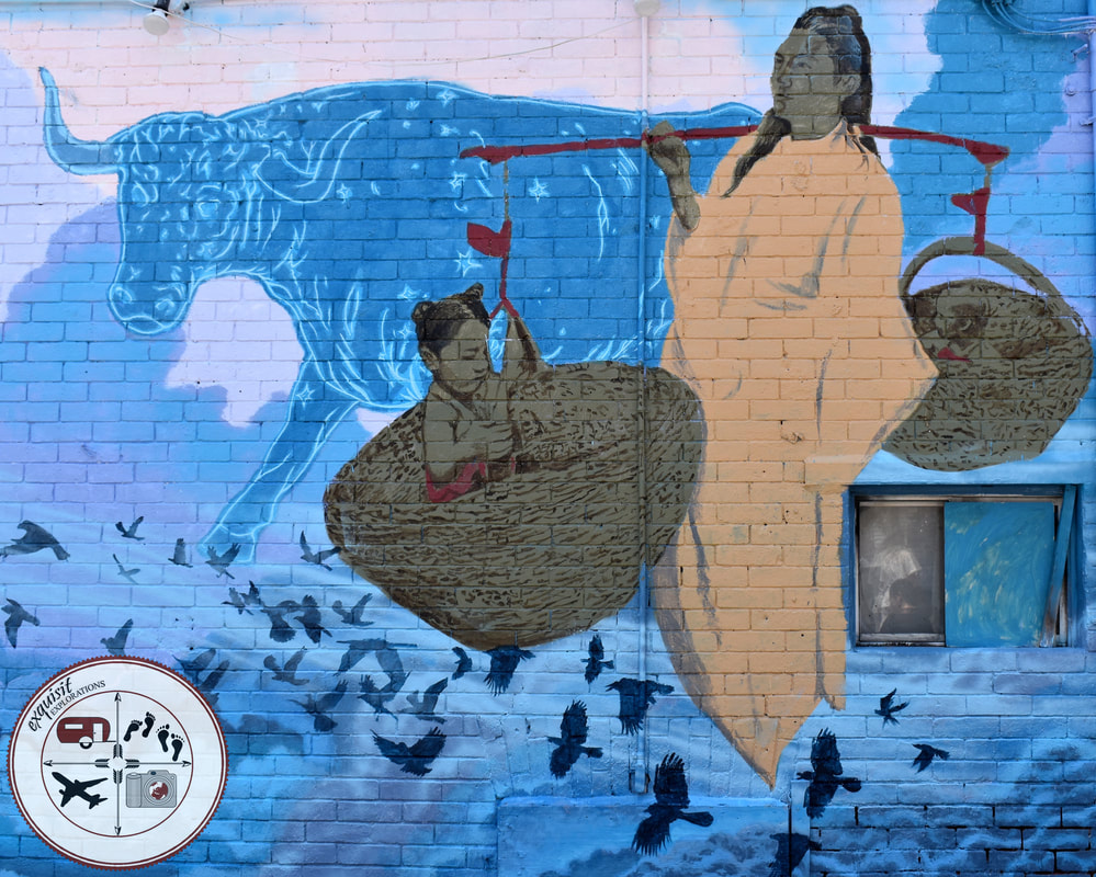 Toronto, Ontario, Canada, Native American Mural; Street Art Around the World; colorful mural, american indian