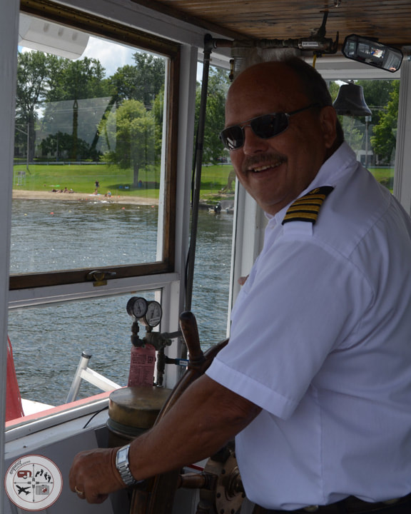 Captain Clair, captain of the Barbara J in Conneaut Lake, PA #boattour #conneautlake #historicboat #paddleboat