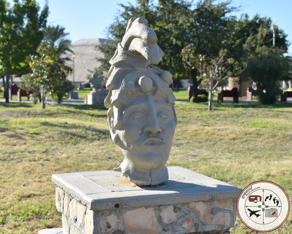 One of many statues in the Plaza de las Culturas; Tijuana vs. Piedras Negras, a comparison of two Mexican border towns