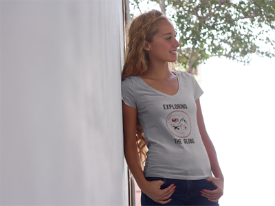 Exploring the Globe: Women's V-Neck T-Shirt in Gray #wanderlust #womensclothing #womensfashion #giftforher #giftsforwomen #globetrotter