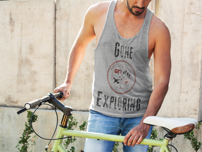 Gone Exploring: Men's Tank Top in Gray #mensclothing #unisexclothing #giftforhim #summerclothesformen