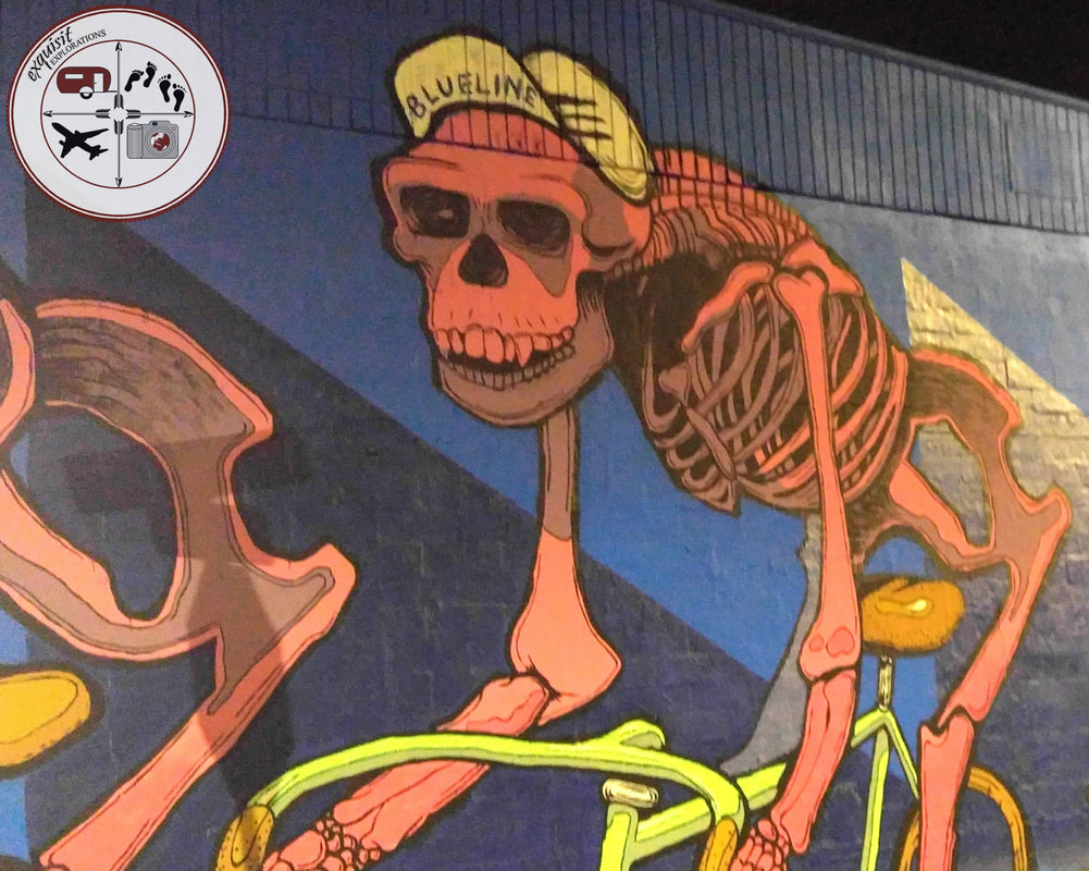 Houston, TX; Street Art Around the World; Colorful Murals; Skeleton Bicycler