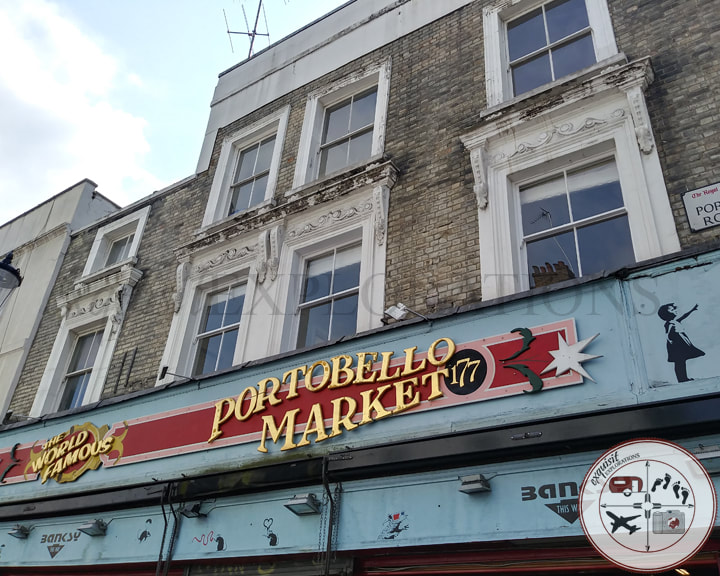Street Vendors and Vintage Stores on Portobello Road; shopping in London; inexpensive places to shop in London