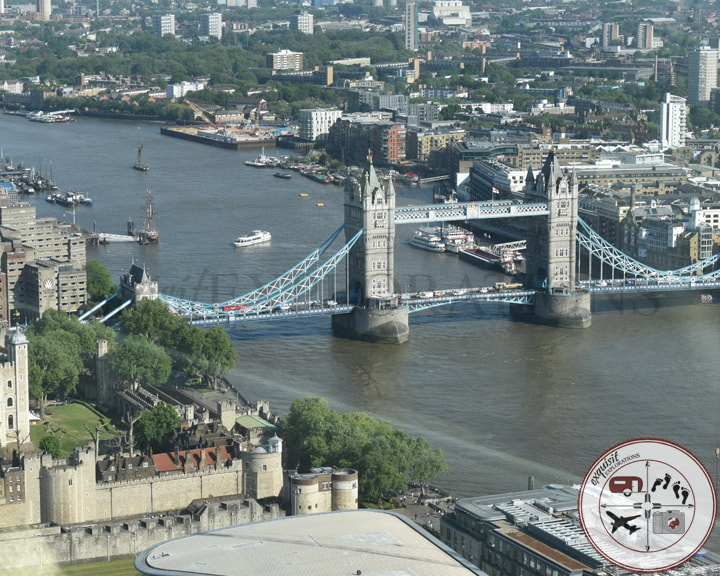 Tower Bridge from Sky Garden, London, England, UK; travel tips, things to do in London