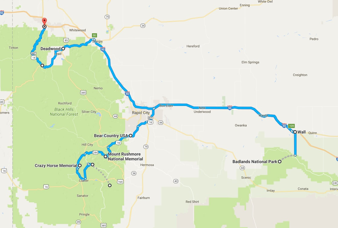 SD Map, Points of Interest, SD, South Dakota Itinerary, Ultimate South Dakota Road Trip, Road Trip Through South Dakota, Travel, RV lifestyle, RV living, RVing, Badlands, Mount Rushmore, Crazy Horse, Deadwood, Bear Country USA, Wall