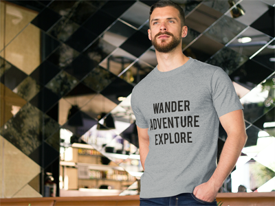 Wander - Adventure - Explore: Men's Crew Neck T-Shirt in Gray #travelgear #traveltshirt