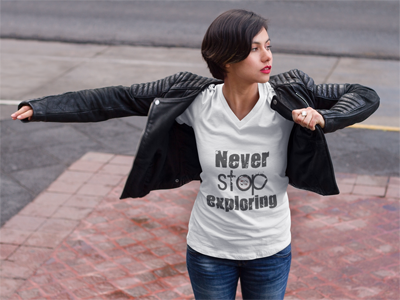 Never Stop Exploring: Women's V-Neck T-Shirt in White #womensfashion #ladiestshirt #campingshirt #adventure