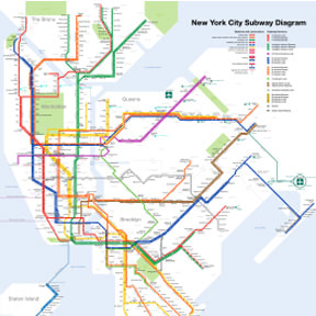 New York City Subway Map from Wikipedia