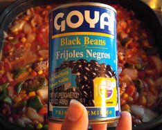 Goya black beans, bean and turkey dip, no cheese dip, vegetable dip, tortilla chips