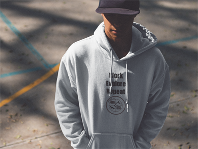 Work - Explore - Repeat: Men's Hooded Sweatshirt in White #winterclothing #menssweatshirt #menshoodie