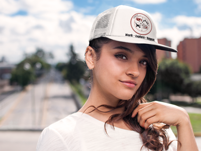 Work - Explore - Repeat: Trucker Hat in White #wanderlust #ballcap #womenshat